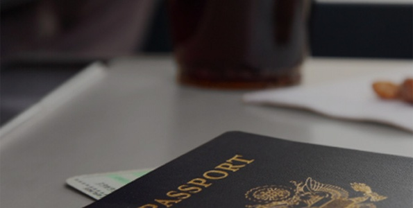 Passport and coffee